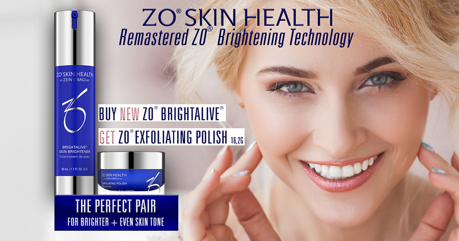 Kjøp den nye ZO Brightalive og du får med Exfoliating Polish travel size!